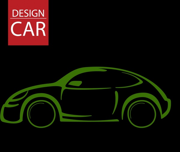 car advertising dark green flat handdrawn sketch
