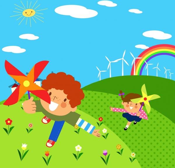 childhood painting playful children colored cartoon design