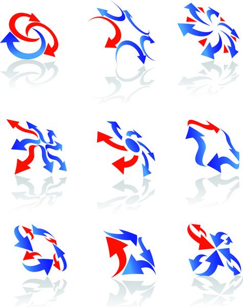 vector logo of abstract arrow design elements