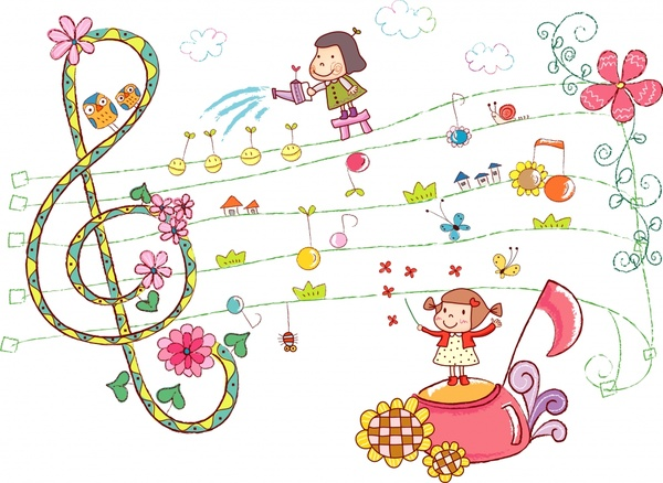childhood painting cute girls music note flora icons