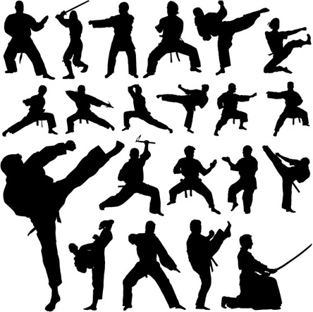 martial arts icons collection silhouettes design style