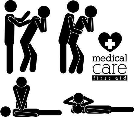 vector medical care people silhouettes set