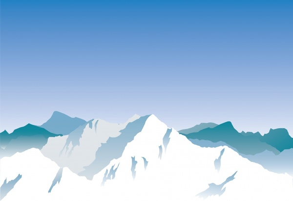snow mountain painting colored cartoon sketch