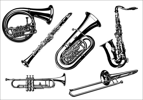 Trumpet instruments icons black white 3d sketch Free vector in