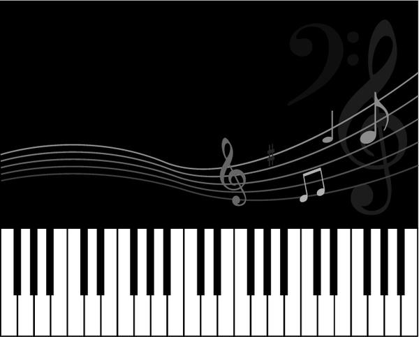 music background black white design keyboard notes icons