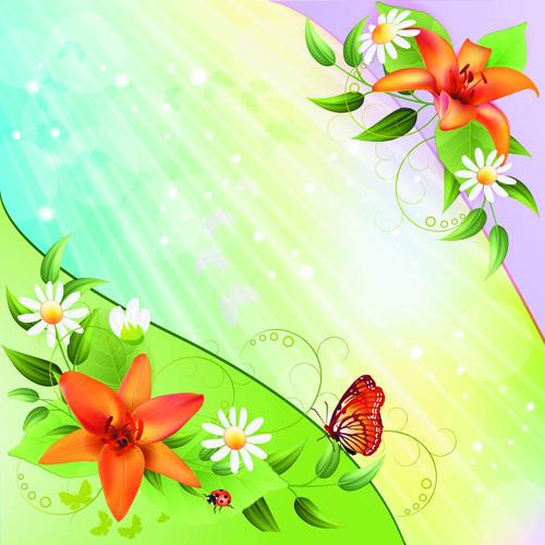 vector of color spring flower backgrounds