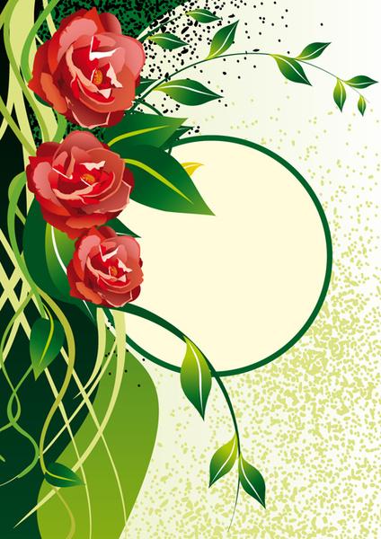 vector of spring fresh flower frame set