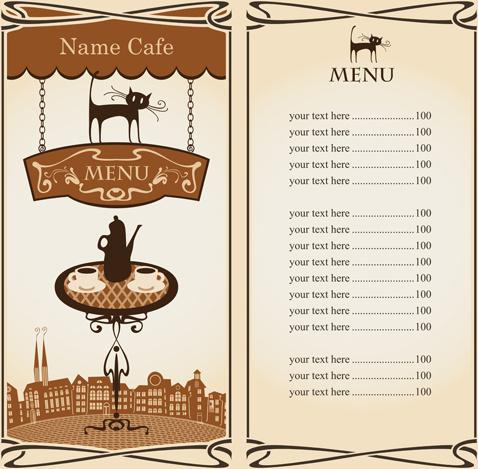 vector of vintage cafe menu background art