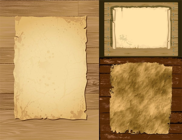 vector old paper and wood