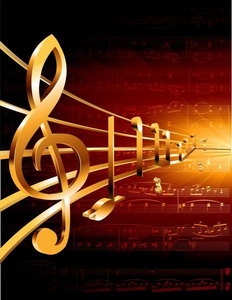 music background dark sparkling golden 3d notes decor