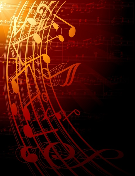 music background modern dynamic notes dark sparkling decor