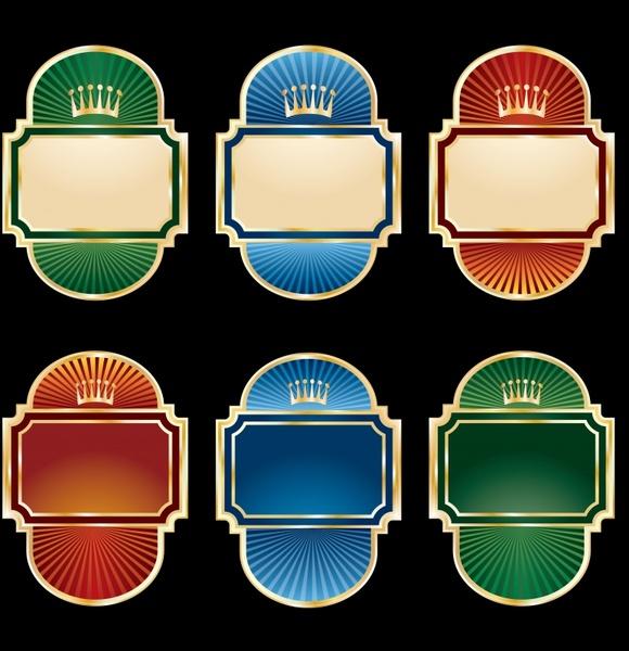 decorative labels templates elegant design crown rays ornamenta