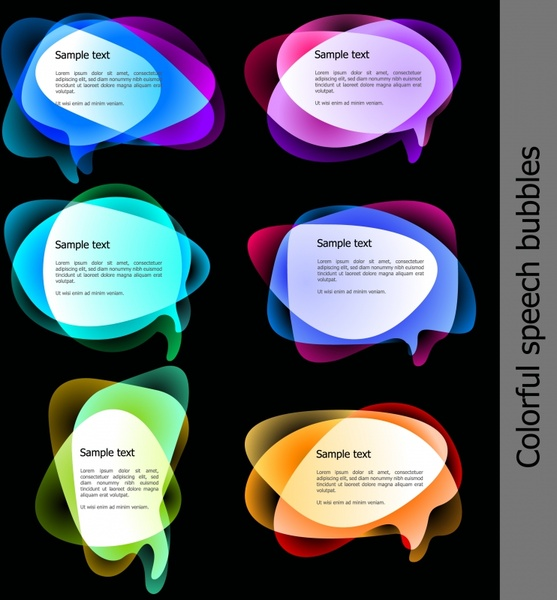 text box templates colorful transparent illusion speech bubbles
