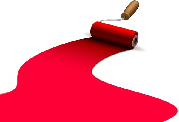 paint brush background bright white red 3d roller