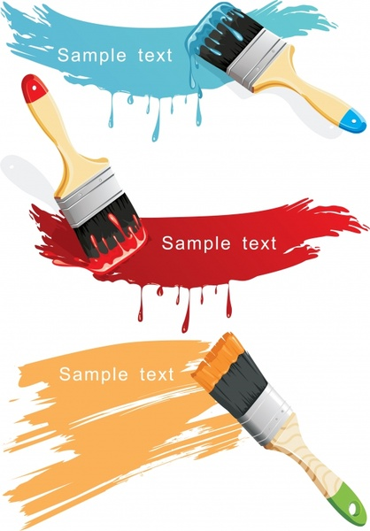 paint brush icons colors grunge decor