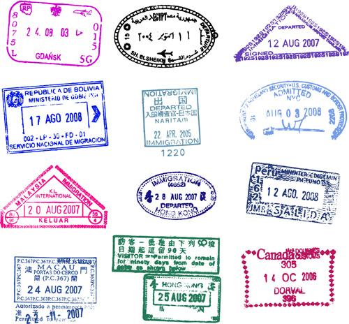vector passport stamps design set