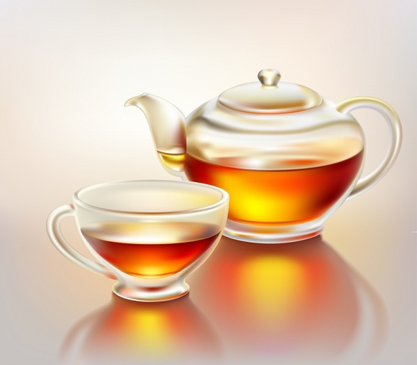 tea cup pot icon modern realistic design