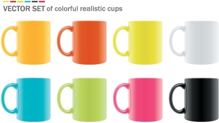 ceramic cups icons collection colorful realistic design