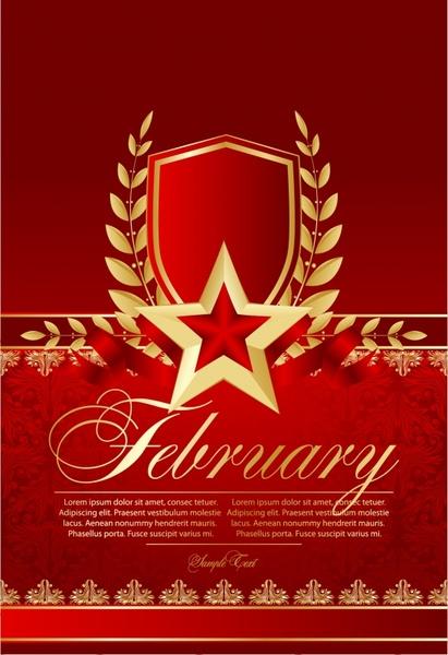 anniversary banner luxury red golden symmetric star wreath