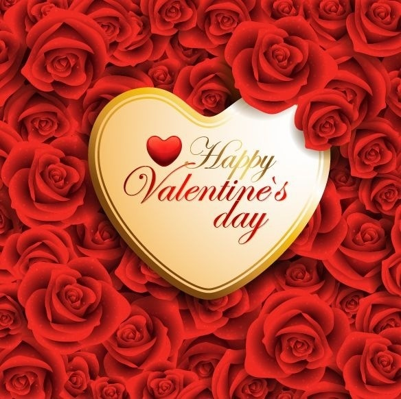 Vector Red Valentine Heart On Roses Background Free