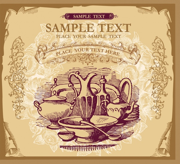 menu cover template utensils icons retro decor