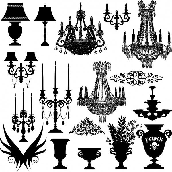 decorative furniture icons elegant silhouette design