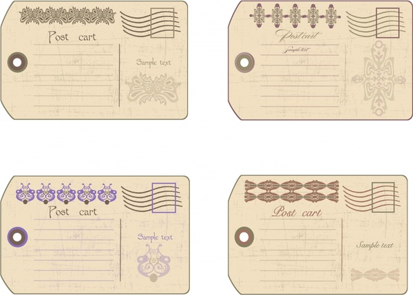 postcard templates retro flat design elegant decor