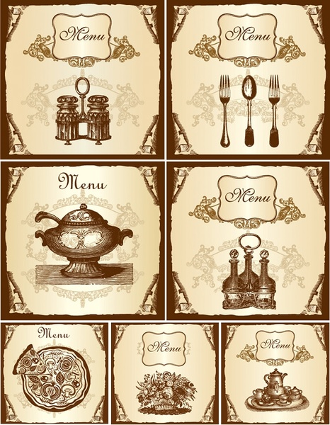 vector retro tableware menu