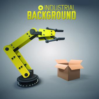 Vector robotic arm industrial background set Free vector in