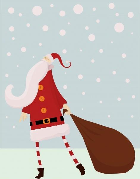 christmas background classical santa claus icon snowfall decor