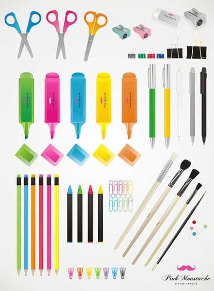 stationery icons collection various realistic colored style