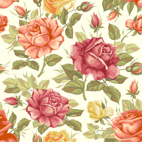 vector seamless retro flower pattern graphic