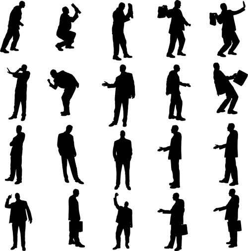 vector set of businessman silhouettes graphics free vector in