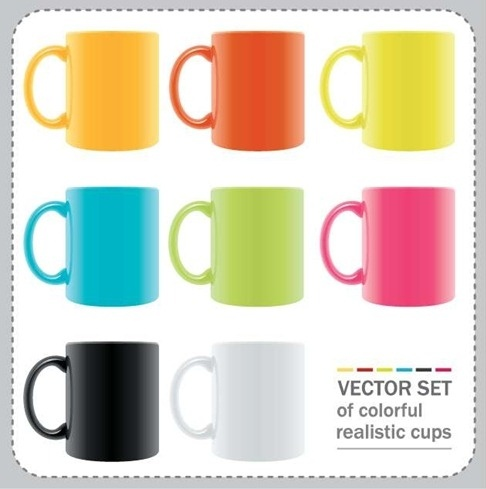 Vector Set of Colorful Realistic Cups
