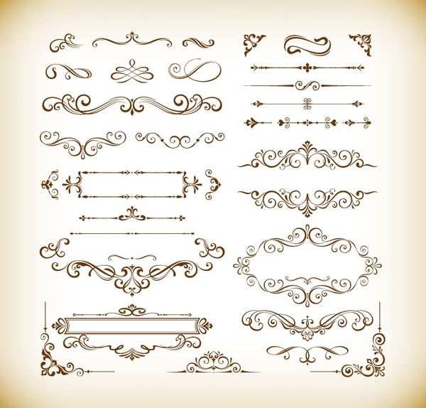Vector Set Of Decorative Floral Elements For Design Free Vector In