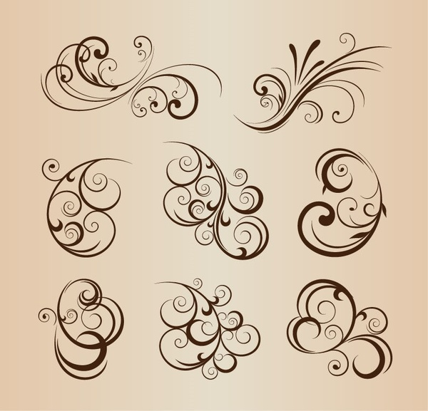 vector set of floral elements for graphic design
