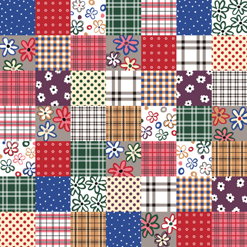 vector set of floral seamless pattern