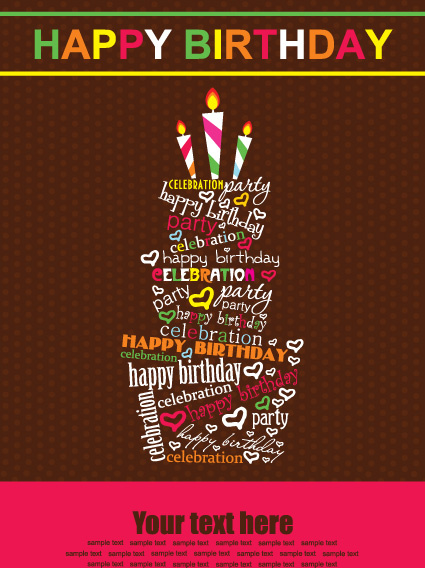 Vector Set Of Happy Birthday Cake Card Free Vector In Encapsulated