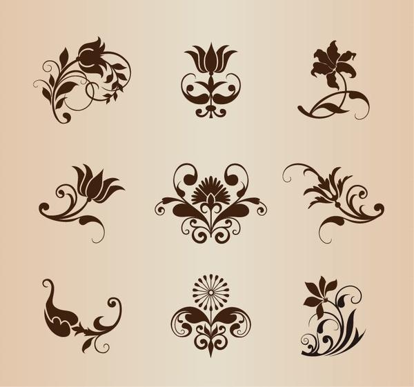 vector set of ornamental vintage flowers elements