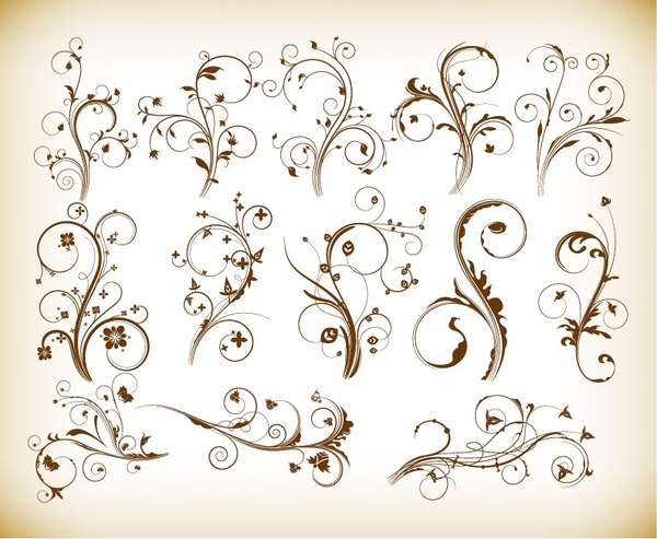 vector set of swirl floral for your design