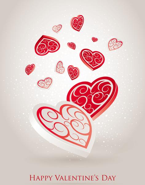 vector set of valentine day elements background