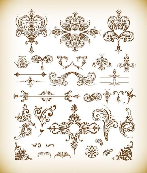 vector set of vintage floral elements