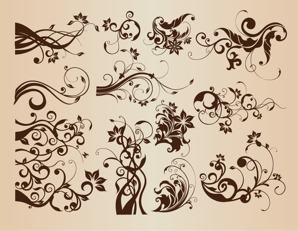 Vector Set of Vintage Floral Elements for Design
