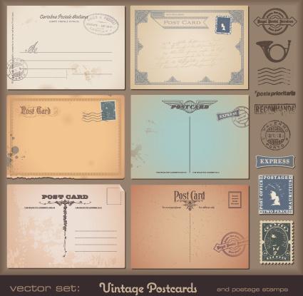 vector set of vintage postcard with stamps elements