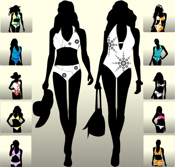 swimsuit fashion templates model silhouette icons