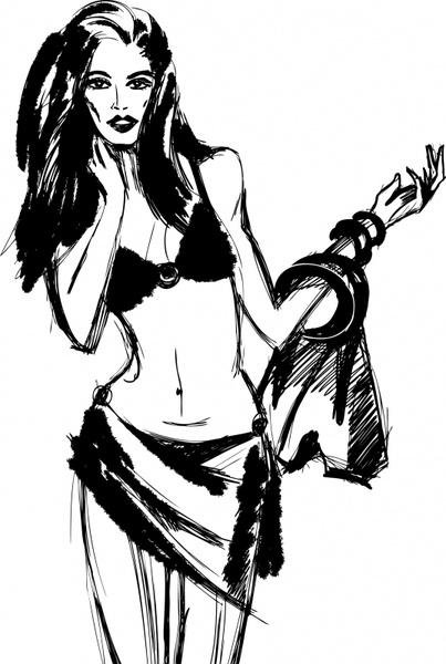 fashion drawing woman icon black white handdrawn sketch