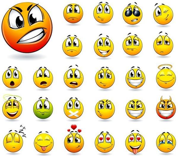 emoticons collection funny circle face design