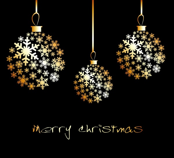 christmas banner hanging golden baubles snowflakes decor
