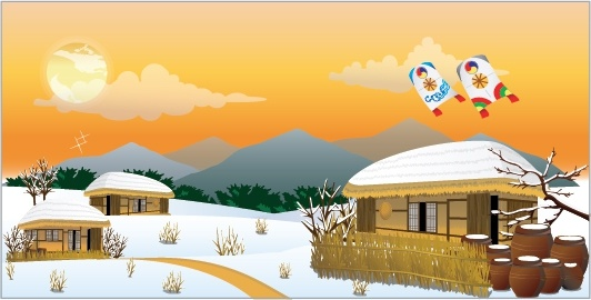 asian countryside painting traditional cottages snow icons decor