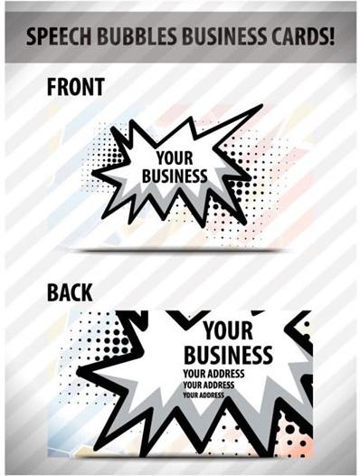 business card template modern flat speech bubble decor